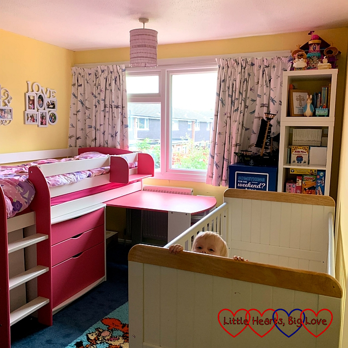 Sophie's and Thomas's new bedroom with Sophie's cabin bed and Thomas cot