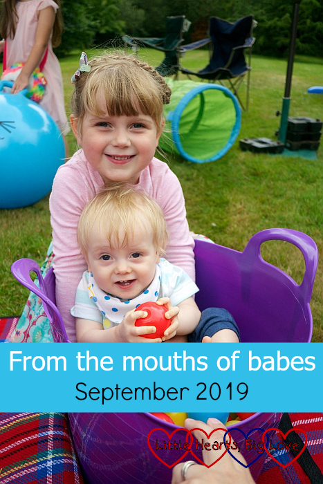 "Sophie with Thomas sitting in a trug - ""From the mouths of babes - September 2019"""