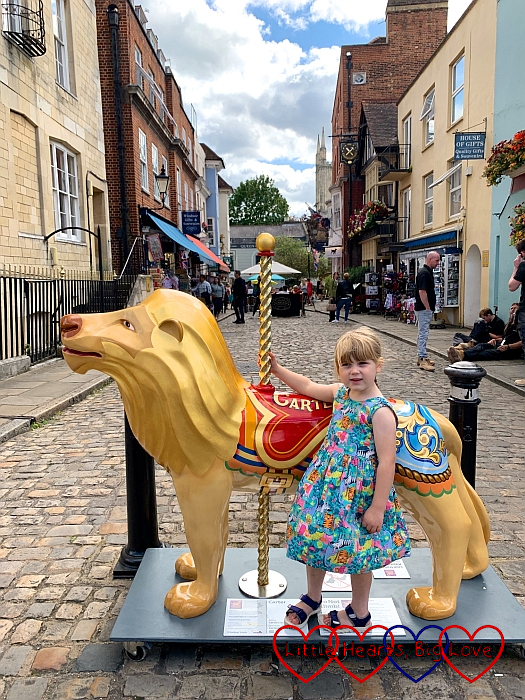 Sophie with the 'Carter' lion sculpture in Windsor