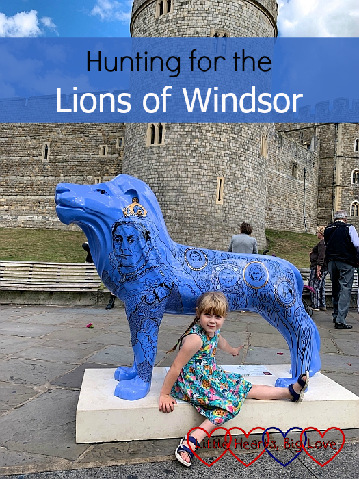"Sophie with the 'Victoria' lion sculpture in Windsor - ""Hunting for the Lions of Windsor"""