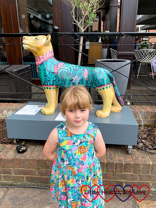 Sophie with the 'Lagoon' lion sculpture in Windsor