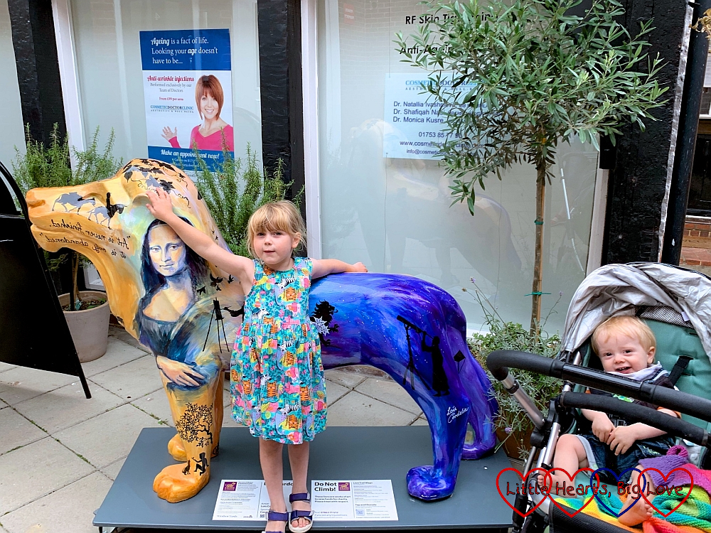 Sophie and Thomas with the 'Leo-nardo' lion sculpture in Windsor