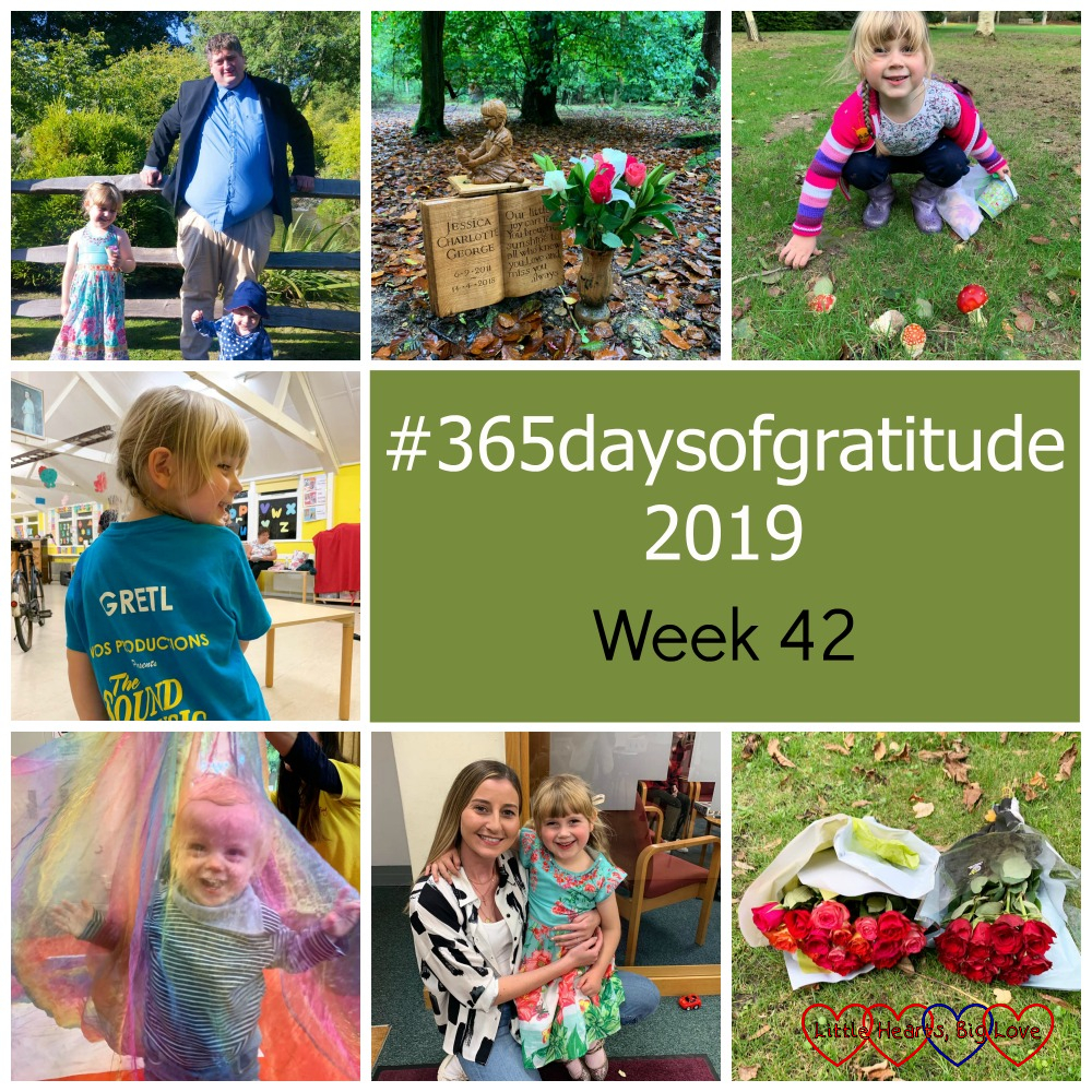 """Hubby with Sophie and Thomas; pink and white flowers at Jessica's forever bed; Sophie looking at fly agaric fungi; Sophie showing off her 'Gretl' T-shirt at rehearsal; Thomas under a large piece of rainbow-coloured voile; Sophie with her Girls' Brigade leader; two bouquets of roses in the churchyard where my dad's ashes were buried - """"#365daysofgratitude 2019 - Week 42"""""""
