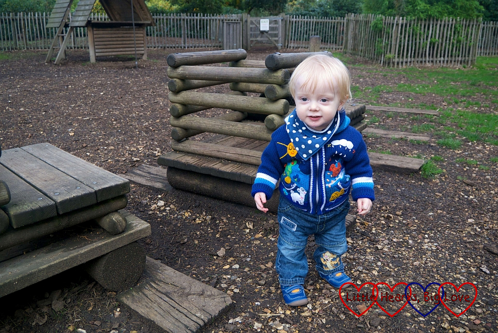 Thomas standing up next to the wooden train in the play area