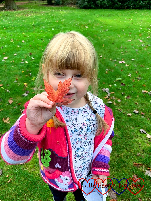 Sophie holding up a red maple leaf