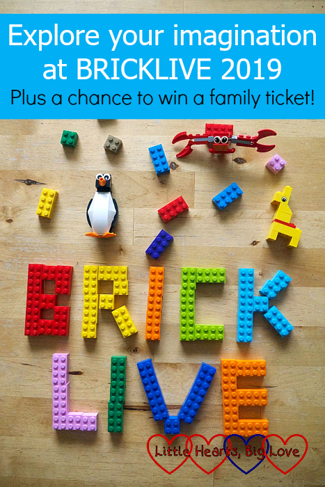 "The word BRICKLIVE created using colourful LEGO bricks surrounded by brick figures and small bricks - ""Explore your imagination at BRICKLIVE 2019 – plus a chance to win a family ticket!"""