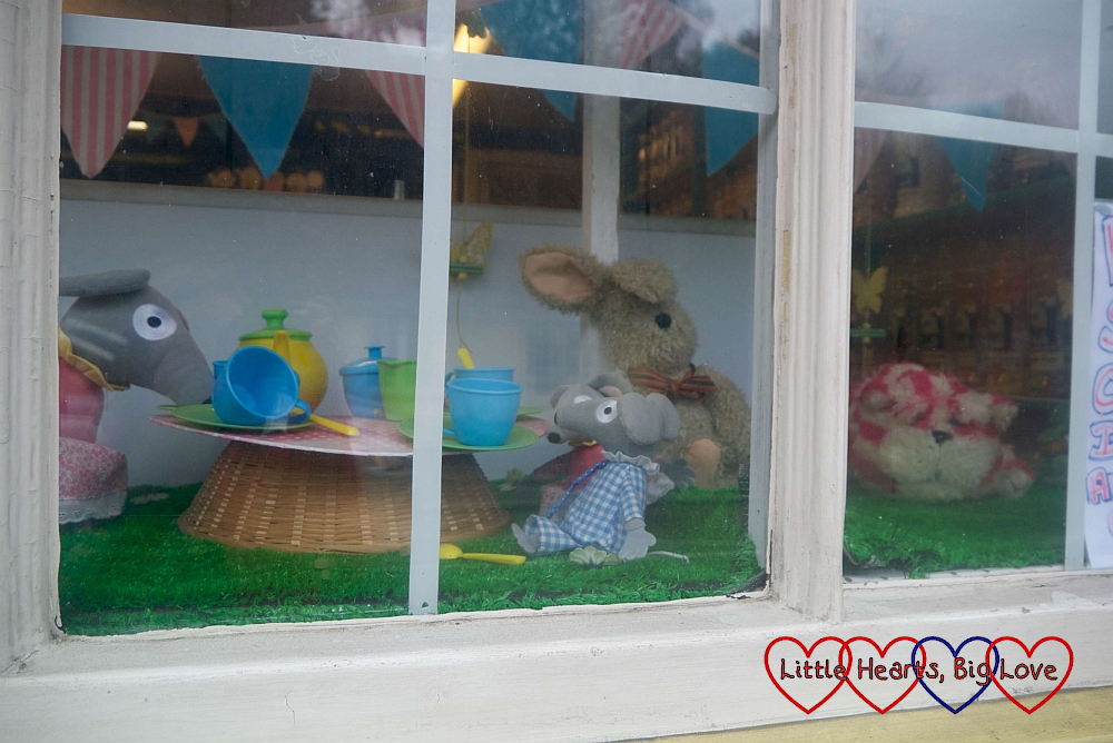 Bagpuss and the mice from Bagpuss in the window of the sweet shop