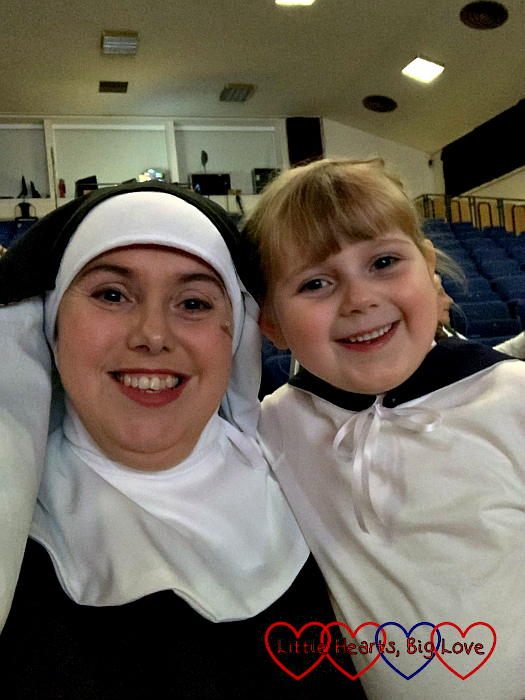Me (dressed as Sister Sophia) and Sophie (dressed as Gretl) sitting in the auditorium of the theatre