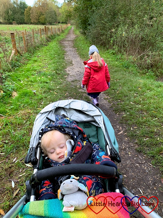 Thomas asleep in the buggy with Sophie walking on ahead