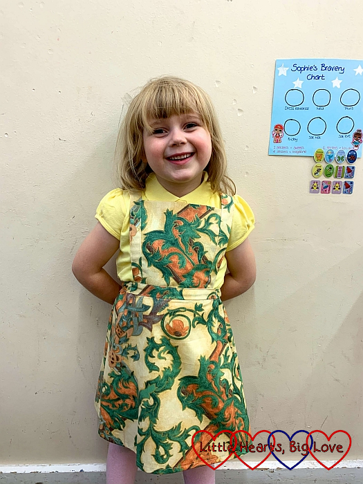 Sophie wearing her curtain playdress from The Sound of Music