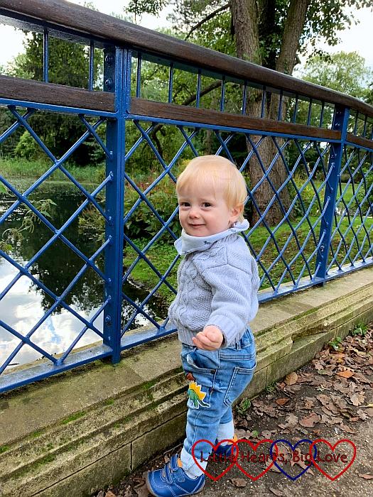 Thomas holding on to the bridge at Herschel Park