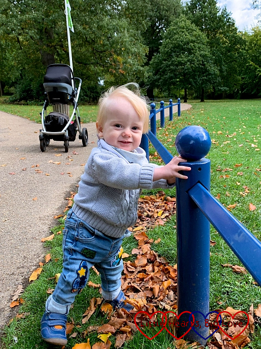 Thomas going for a walk, while holding on to a blue fence