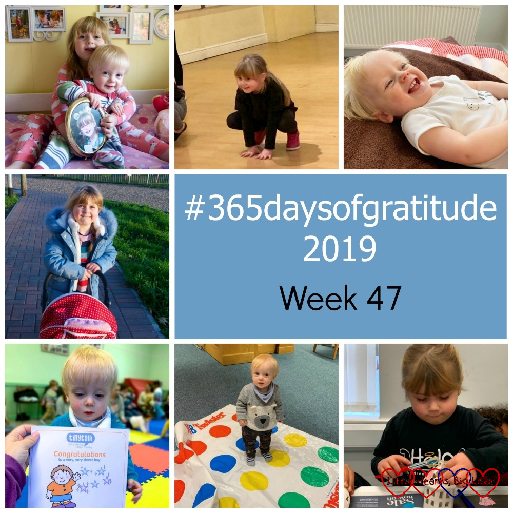 "Sophie and Thomas sitting on Sophie's bed holding a photo of Jessica; Sophie crouching down as part of her dance routine; a very smiley Thomas; Sophie pushing her doll's pram at the park; Thomas with his '10 signs' certificate; Thomas standing on a Twister mat; Sophie painting a ceramic lantern at Halo - ""#365daysofgratitude 2019 - Week 47"""