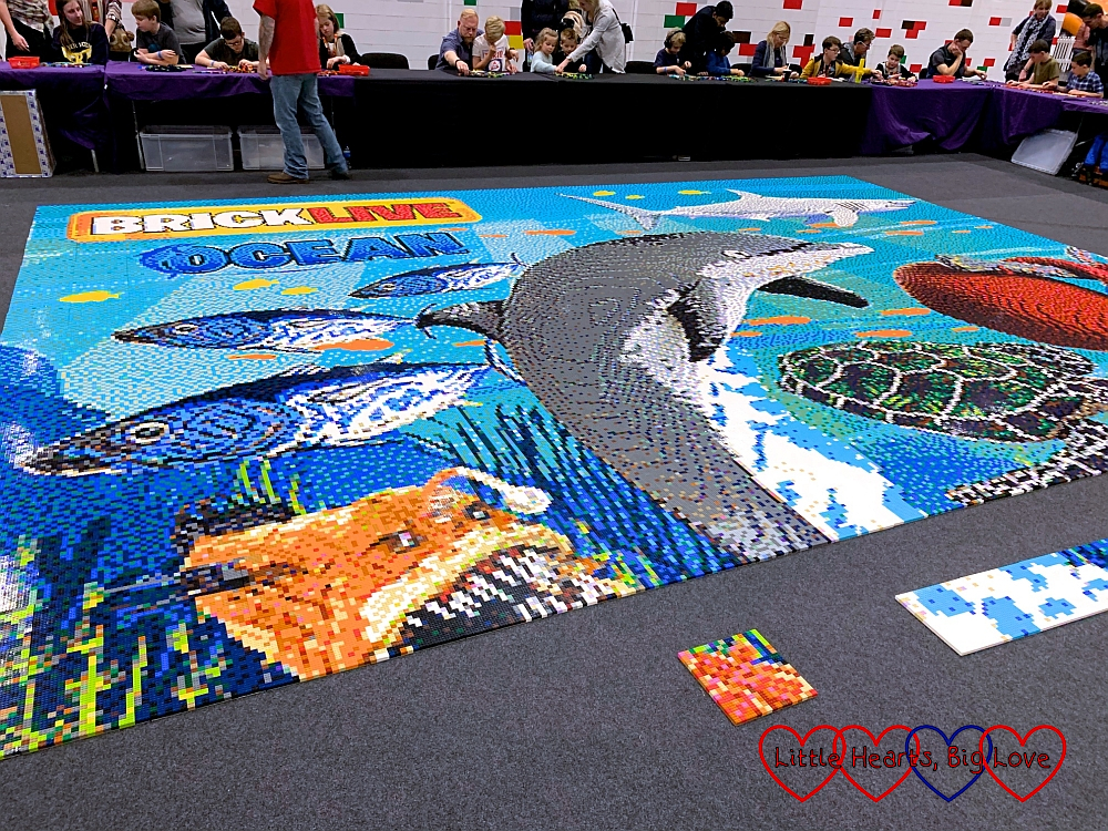 The brick mosaic of dolphins and other sea creatures from BRICKLIVE Ocean
