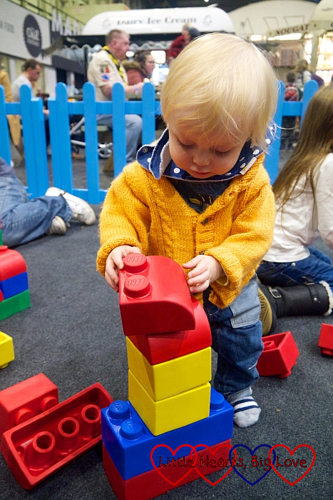 Thomas with some of the giant soft LEGO® bricks