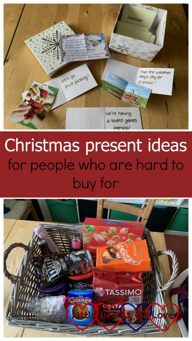 "(top) A box of envelopes labelled for each month with notecards showing family time ideas; (bottom) a hamper full of chocolates, wine, and food treats - ""Christmas present ideas for people who are hard to buy for"""