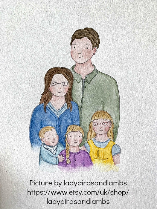 A drawing of me, hubby, Jessica, Sophie and Thomas by ladybirdsandlambs