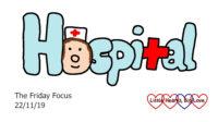 The word hospital with a nurse as the 'o'