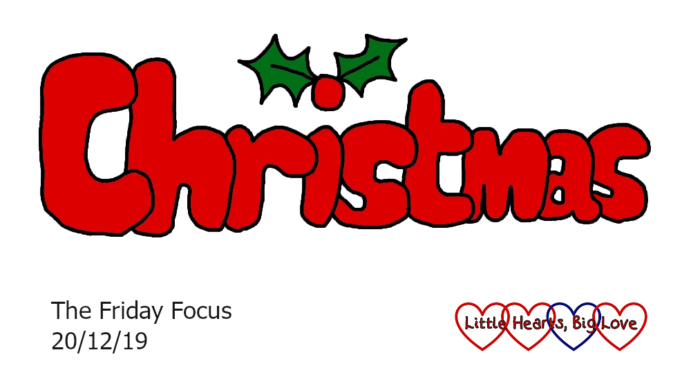 The word Christmas with two holly leaves and a red berry as the dot for the 'i'