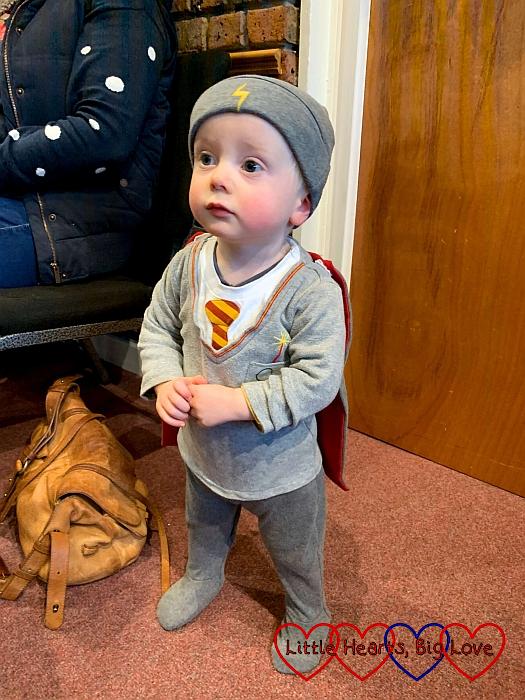 Thomas wearing a Harry Potter sleepsuit