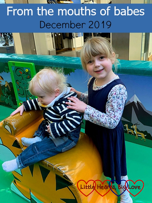 "Sophie and Thomas at a soft play with Thomas sitting on a soft tiger shape - ""From the mouths of babes - December 2019"""