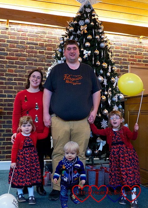 Me, hubby, Sophie, Jessica and Thomas standing in front of a Christmas tree at church
