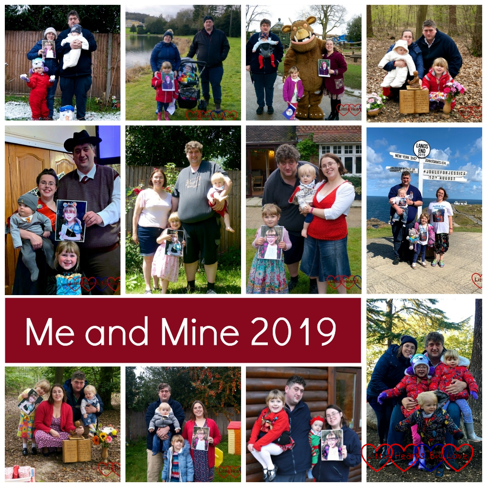 A collage of photos showing my Me and Mine photos from 2019