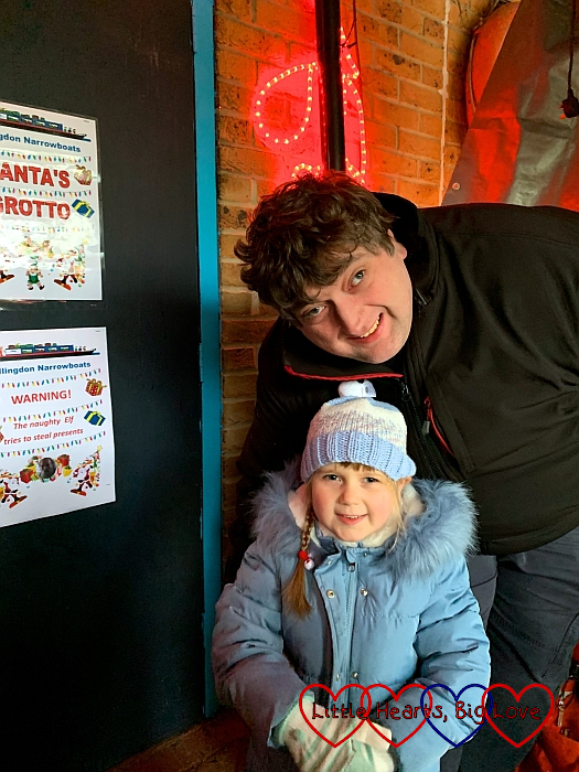 Hubby and Sophie outside Santa's Grotto