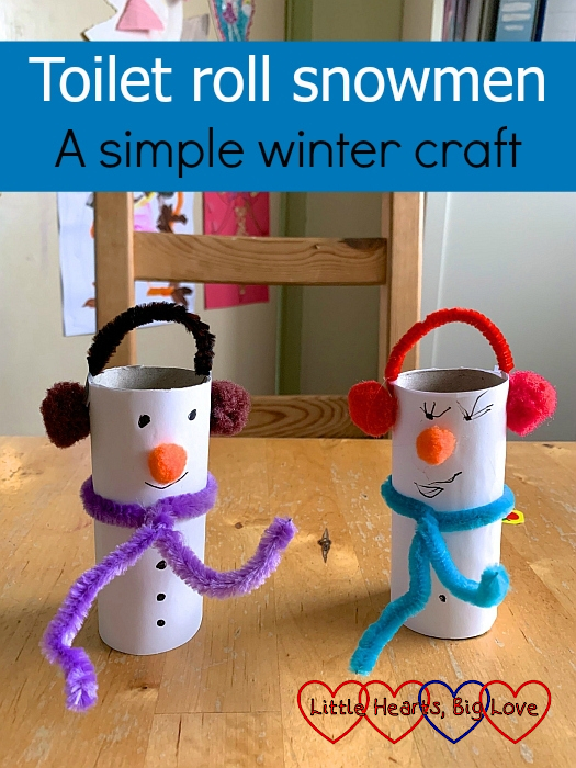 "Two snowmen made from white paper covered toilet roll tubes with pipe cleaner and pompom scarves and earmuffs - ""Toilet roll snowmen - a simple winter craft"""