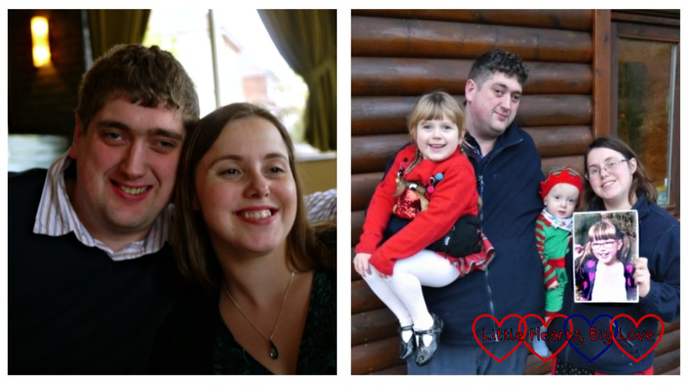 (left) me and hubby back in 2010; (right) hubby holding Sophie, me holding Thomas and a photo of Jessica on Christmas Day 2019