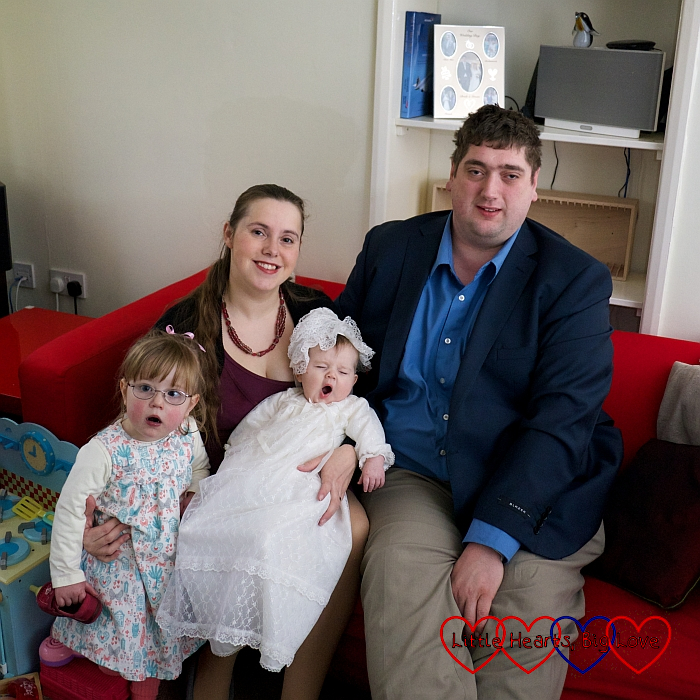Jessica, me, Sophie (in her christening robe) and hubby sitting on the sofa in February 2014