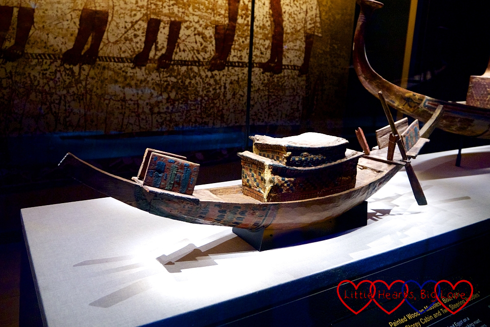 A miniature wooden ship in the Tutankhamun exhibition
