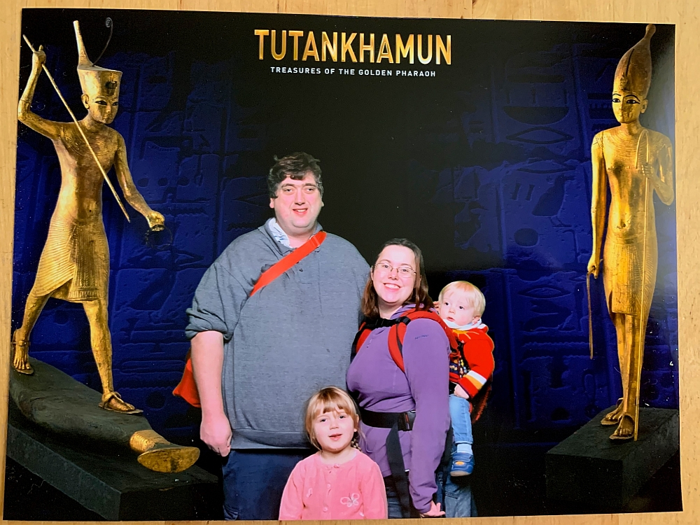 Me, hubby, Sophie and Thomas at the Tutankhamun: Treasures of the Golden Pharaoh exhibition