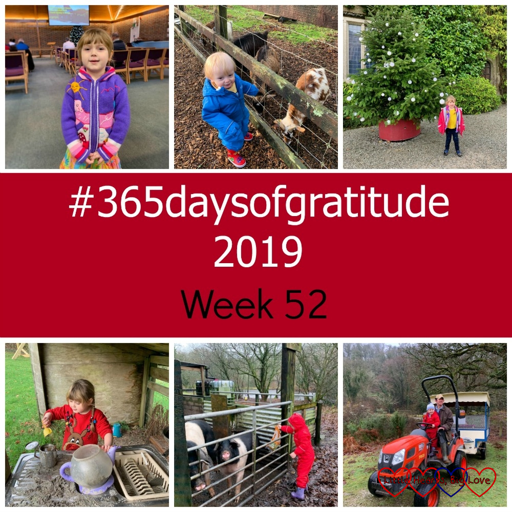 "(top l-r) Sophie at church; Thomas with the goats at Coombe Mill; Sophie standing in front of a Christmas tree at Lanhydrock; (middle) ""#365daysofgratitude 2019 - Week 52""; (bottom l-r) Sophie playing in the mud kitchen at Coombe Mill; Sophie feeding the pigs at Coombe Mill; Sophie riding the tractor at Coombe Mill"