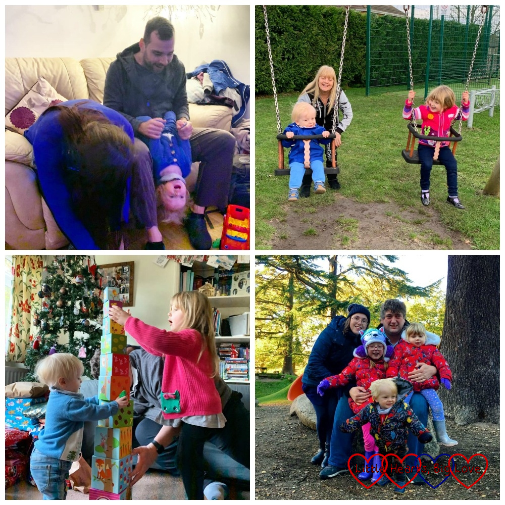 (top l-r) Thomas being held upside-down by Uncle Tony with Auntie Fizz going upside-down too; Auntie Loraynne pushing Sophie and Thomas on the swings; (bottom l-r) Sophie and Thomas building a tower of blocks in front of the Christmas tree, a Photoshopped photo of me, hubby, Jessica, Sophie and Thomas at Langley Park