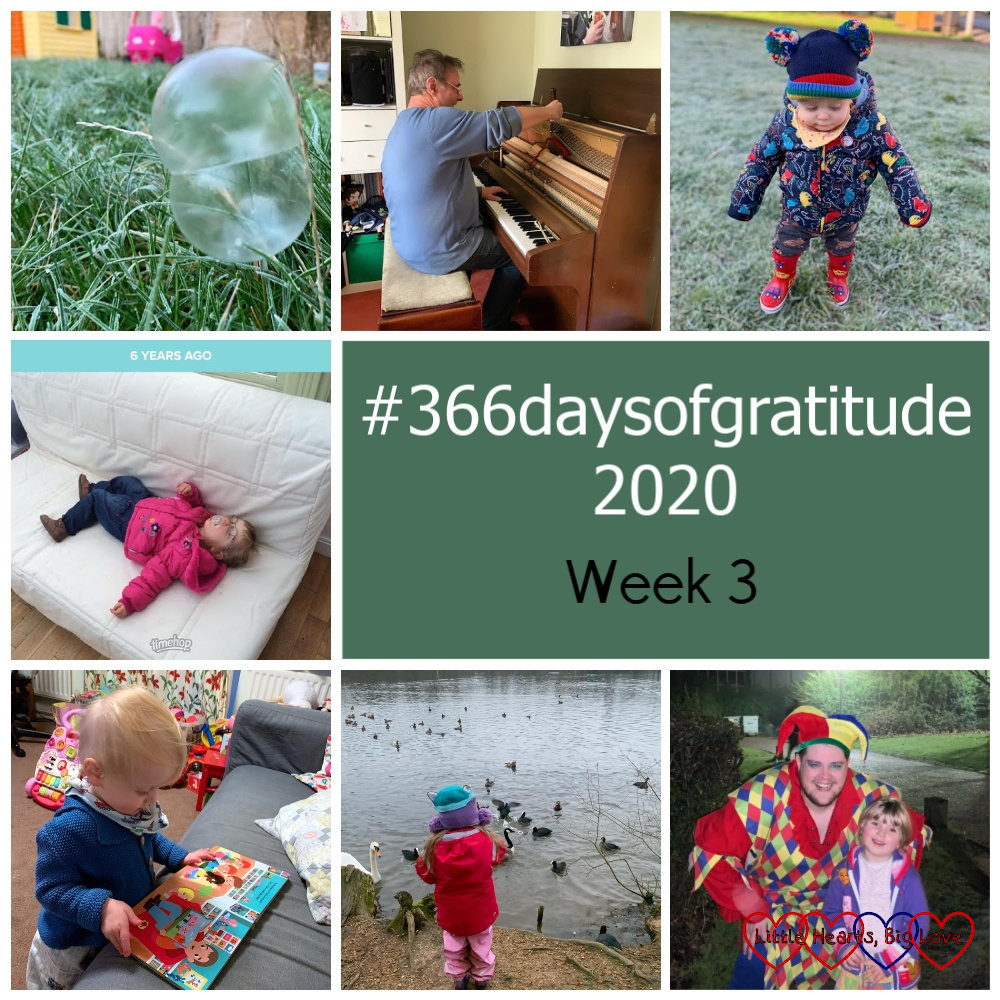 """A frozen bubble on the lawn; my piano tuner tuning my piano; Thomas walking across frosty grass wearing a warm dinosaur print coat, a rainbow bobble hat and red wellies with cars on them; a 2 year old Jessica asleep on a sofa; Thomas looking at a book; Sophie feeding ducks; Sophie with the jester from the panto - """"#366daysofgratitude 2020 - Week 3"""""""