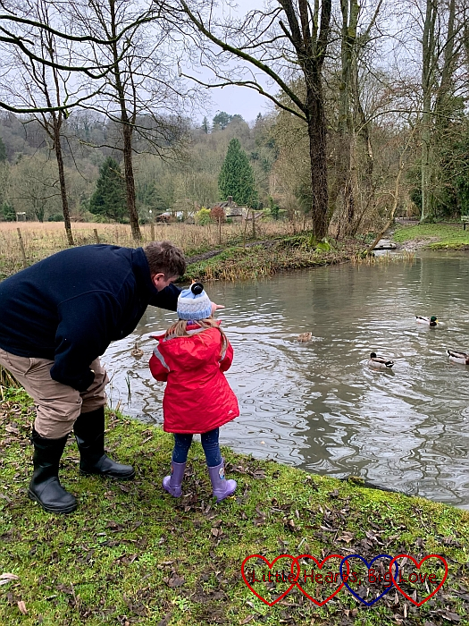 Sophie and Daddy feeding the ducks