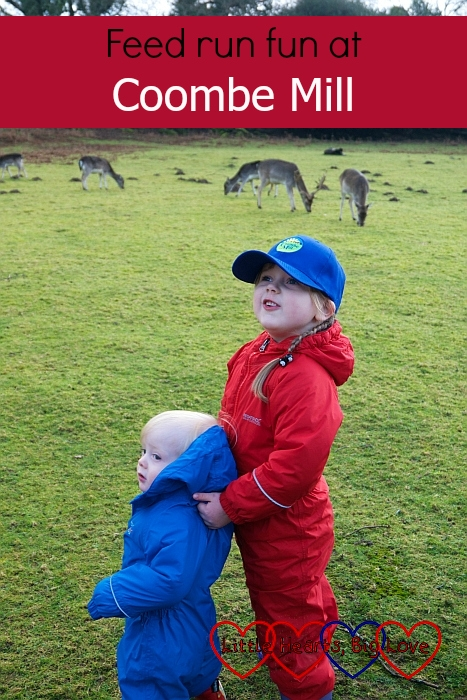 "Sophie and Thomas standing in the deer field - ""Feed run fun at Coombe Mill"""