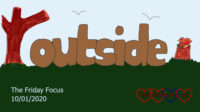 The word 'outside' drawn with trees around it