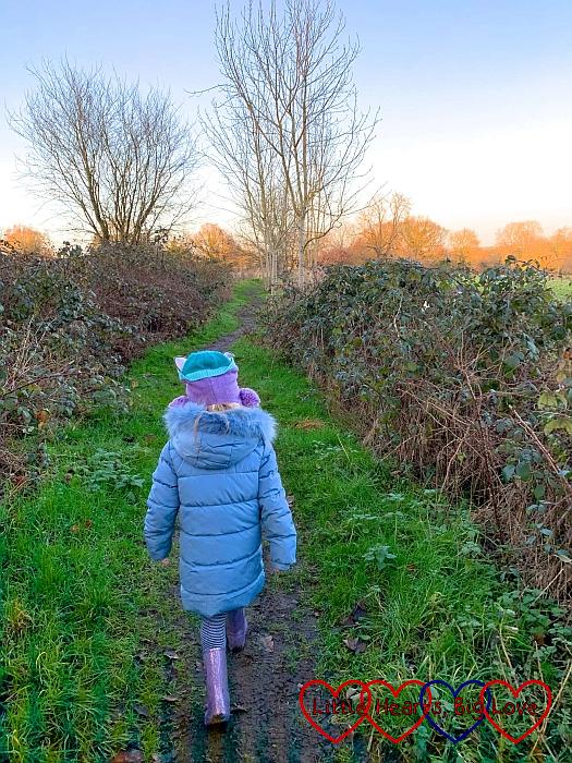 Sophie walking down a country lane
