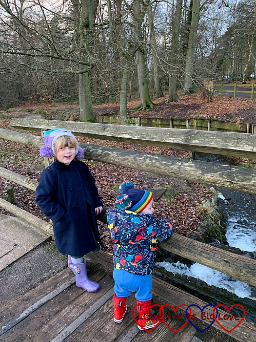 Sophie and Thomas standing on a bridge, looking down at a stream