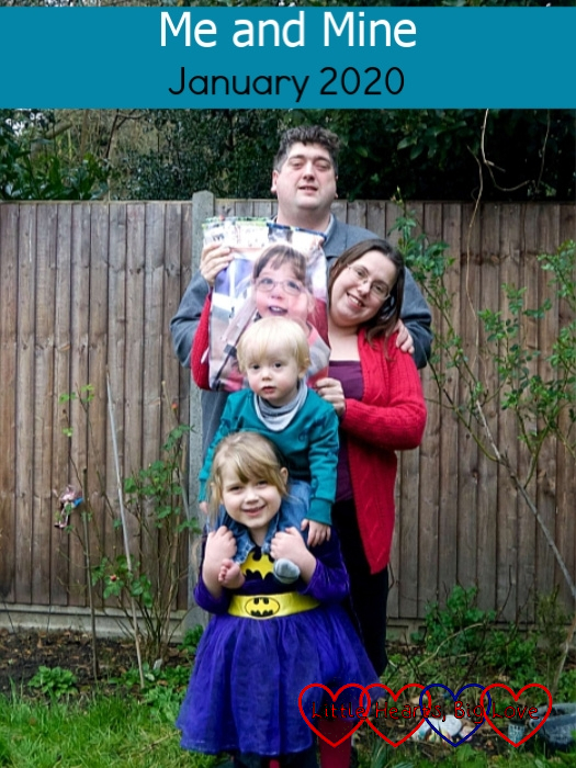 """Sophie with Thomas on her shoulders; me holding a photo of Jessica from her photo blanket above Thomas and hubby standing behind me with his head above the photo of Jessica - """"Me and Mine - January 2020"""""""