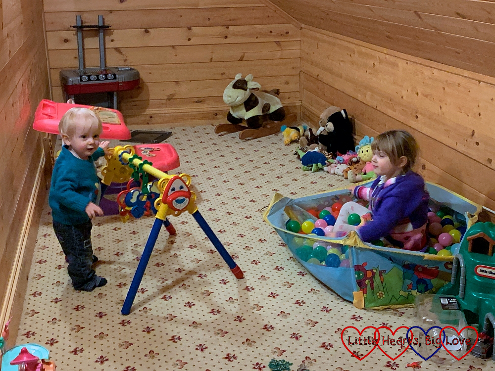Sophie and Thomas in the playroom in Heligan Lodge