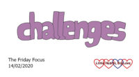 The word 'challenges' in purple