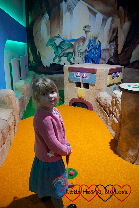 Sophie at one of the Mayan-inspired crazy golf holes at Putt Crazy