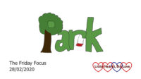 The word 'park' with a tree forming the 'p' and a swing hanging from the 'r'