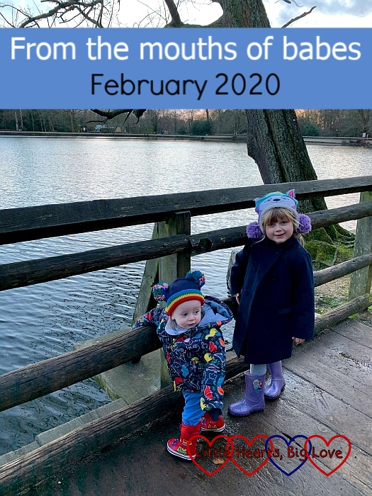 "Sophie and Thomas standing by the lake in Black Park in winter coats and hats - ""From the mouths of babes - February 2020"""