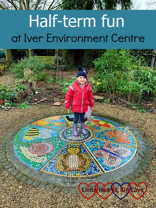 """Sophie standing in the middle of a colourful mosaic at Iver Environment Centre - """"Half-term fun at Iver Environment Centre"""""""