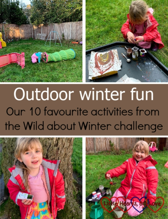 "An obstacle course set up in the garden; Sophie doing mud painting; Sophie holding a matchbox filled with tiny nature treasures; Sophie making a mud potion in the garden - ""Outdoor winter fun: our 10 favourite activities from the Wild about Winter challenge"""