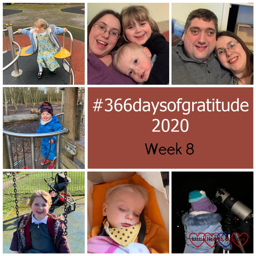 "Sophie on the roundabout at the park; me, Sophie and Thomas having snuggles on the sofa; me and hubby; Thomas in the play area at Black Park; Sophie on the swing at the park; Thomas asleep in his buggy; Sophie looking through a telescope - ""#366daysofgratitude 2020 - Week 8"""